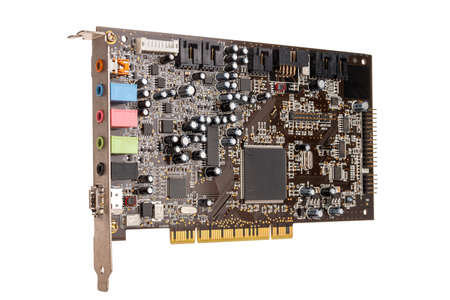 professional computer device external sound card for playback and recording, mixer, audio inputs and audio outputs