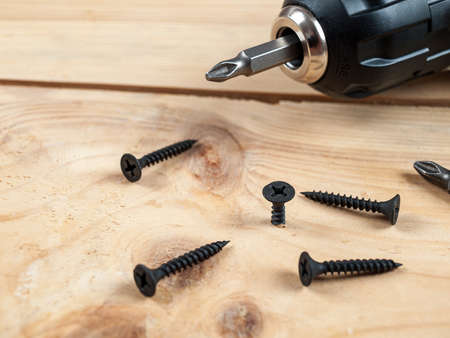screws self-tapping screws on the background of a screwdriver, a selection of different self-tapping screws for different materials of walls and surfaces