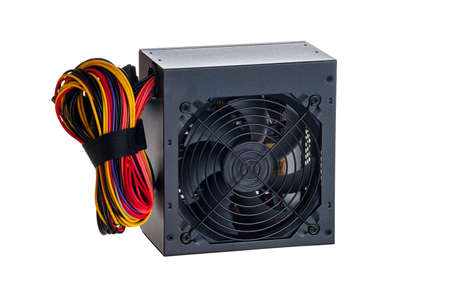 Power supply unit for a personal computer, workstation, server, isolated on a white background, computer equipment, accessories