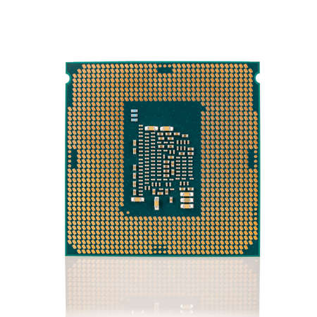 interchangeable silicon microprocessors for desktop, server, laptop, cpu surface with contacts for installation in the motherboard connector, processor selection for games, isolated on white
