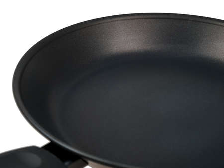 modern cooking pan with  ceramic coating, close-up non-stick coating, insulated on white background, induction cooker pans