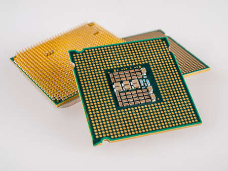 several different types of microprocessors for a computer, close-up, the choice of a silicon chip for installation in a working or gaming computer, multithreading and multi-core CPU, central processing unit, manufacturing process, installation socket