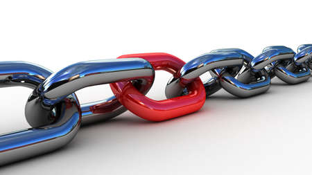 attached: Chain with a red link, 3D Stock Photo