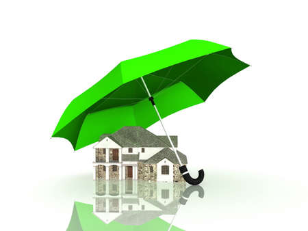 House under an umbrella on a white background, 3D photo