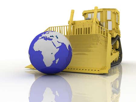 Bulldozer and globe on white background, 3D photo