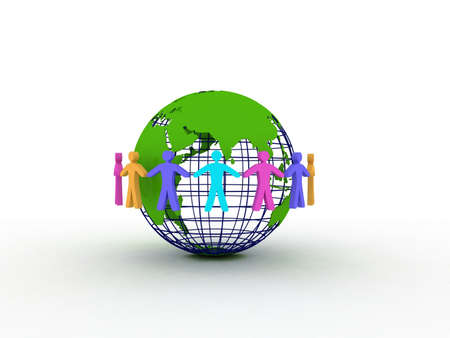 Friends on the globe, 3D Stock Photo - 11926538