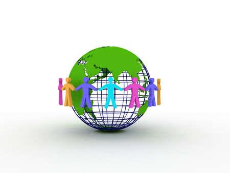 Friends on the globe, 3D photo