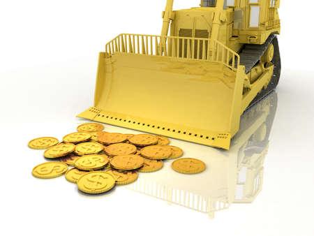 gold shovel: Bulldozer and money gold on white background, 3D