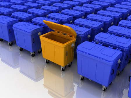 Trashcans color, 3D photo