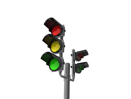 Traffic light isolated on white background, 3D Stock Photo - 11926521