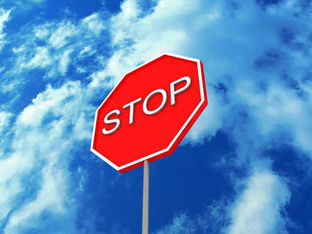 Road sign STOP on the background of the sky, 3D photo