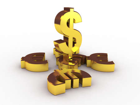 transcend: Dollar and euro gold, 3D Stock Photo
