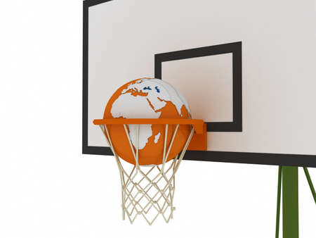 3D basketball and orange globe photo