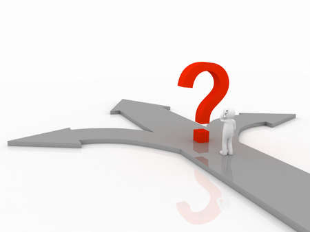 Question mark and the man on the arrow, 3D Stock Photo - 11953635