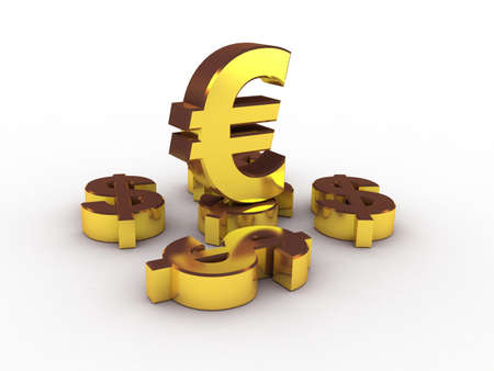 transcend: Euro and dollar gold, 3D Stock Photo