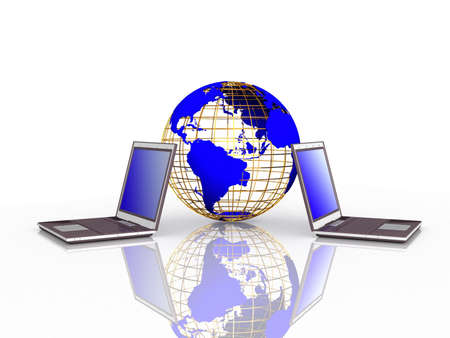 Laptop and globe on white background, 3D Stock Photo - 11953902