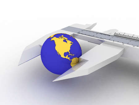sliding caliper: Calipers and globe, 3D Stock Photo