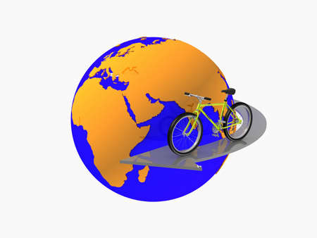 clockwise: Bike in the clockwise direction around the globe, 3D Stock Photo