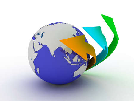 Globe and arrow on white background, 3D Stock Photo - 11953776