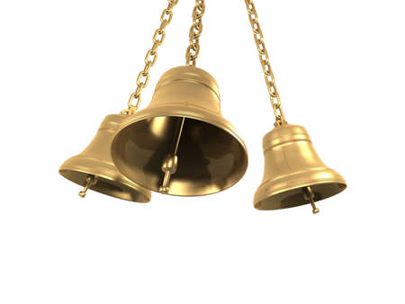 ringing: The bells isolated on white background, 3D Stock Photo