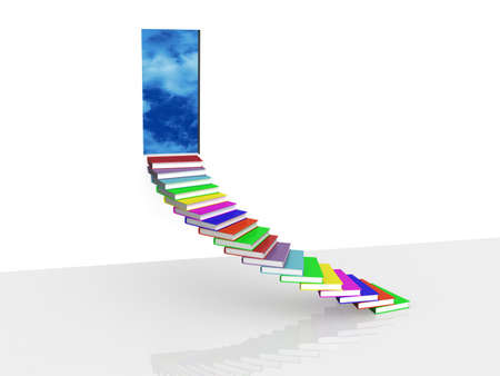 A staircase from the books of the leading in the door, 3D Stock Photo - 11953559