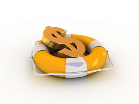 lifebuoy and dollar, 3D
