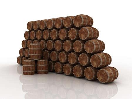 Wooden barrels, 3D
