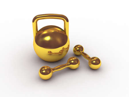 Dumbbells and weight of gold, 3D photo