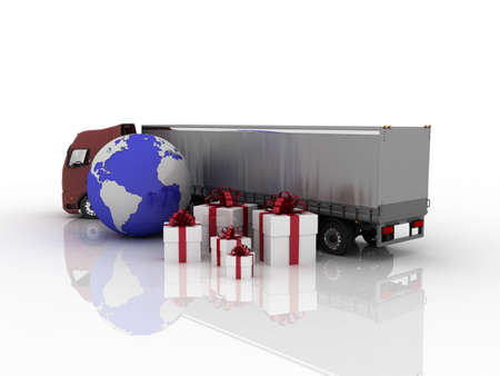 Truck with gifts and globe, 3D Stock Photo