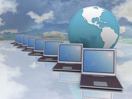 Laptop and globe on sky background, 3D Stock Photo - 11954051
