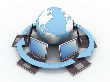 computer generated image: Laptop and globe on white background, 3D