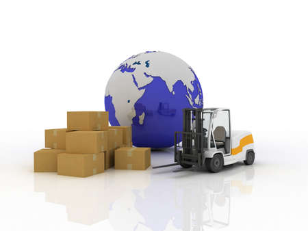 Forklift box and the globe, 3D photo