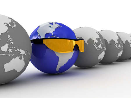 Sunglasses and globe on white background, 3D Stock Photo - 11953883