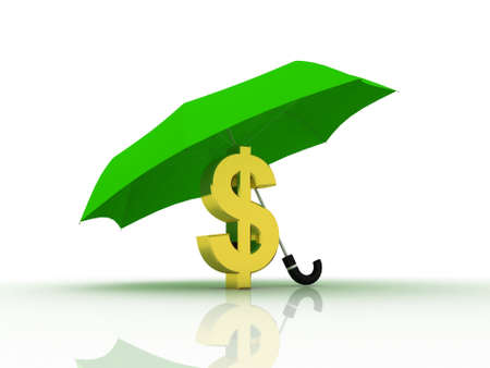 Dollar under the umbrella of, 3D photo