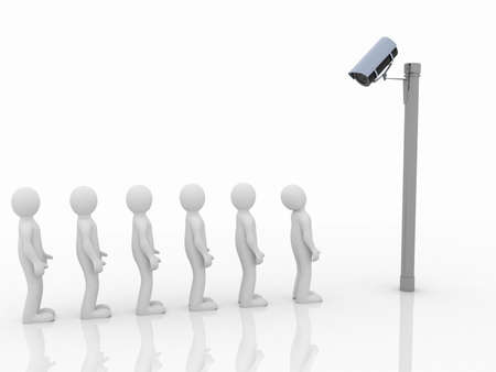 security monitoring: Security camera and man on white background. Isolated 3D image