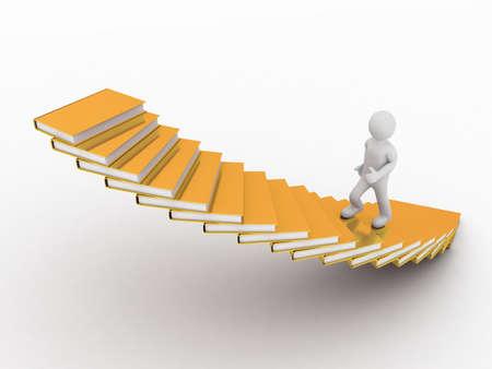 Hombre que camina por las escaleras de los libros, en 3D
