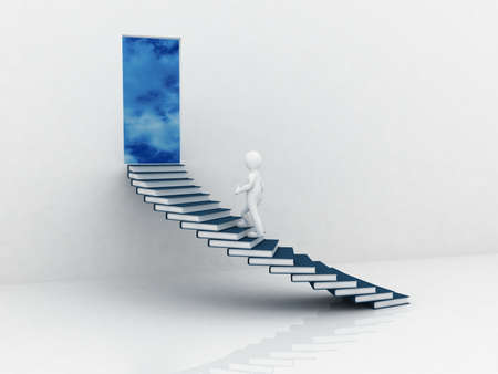 adult learning: Man walking on the stairs of books, 3D