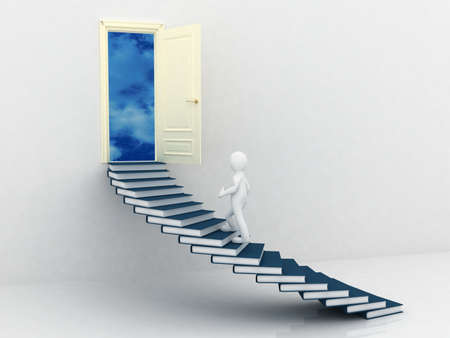 Man walking on the stairs of books, 3D photo