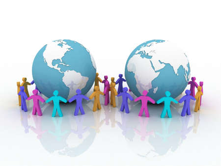Friends on the globe, 3D Stock Photo