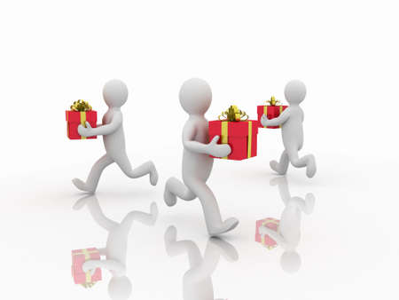 Man with gifts, 3D photo