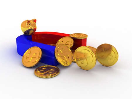 Piggy moneybox with money on magnete. 3d illustration illustration