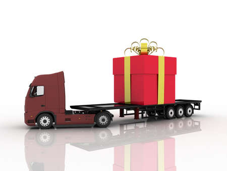 Truck with gift, 3D photo