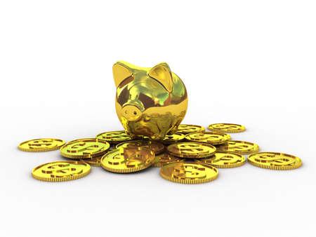 moneybox: Piggy moneybox with money, 3d illustration