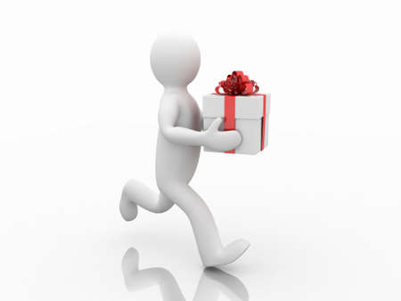Man with gifts, 3D Stock Photo