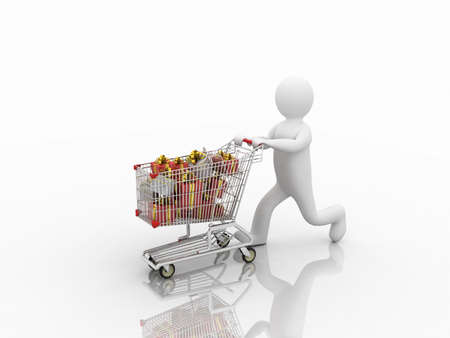 mall shopping: Shopping trolley and gifts, 3D