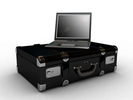 laptop in the suitcase, 3D Stock Photo - 11953782
