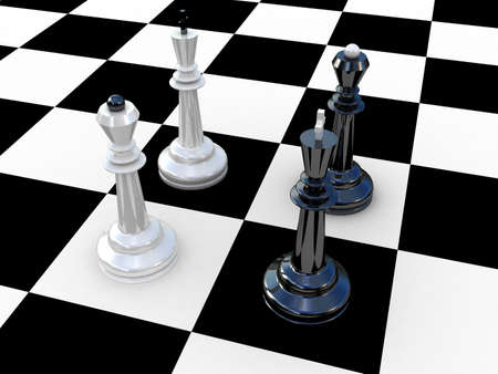 Chess at a chess board, 3D Stock Photo - 11953866