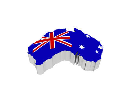 queensland: The flag of Australia, 3D Stock Photo
