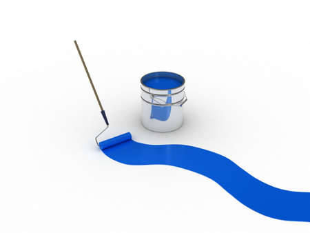 A bank with a paint roller, 3D Stock Photo - 11966048