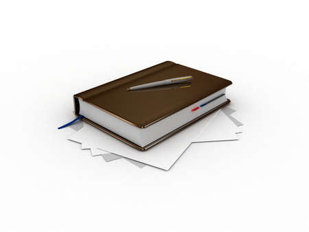 A notebook and a pen, 3D Stock Photo - 11966087